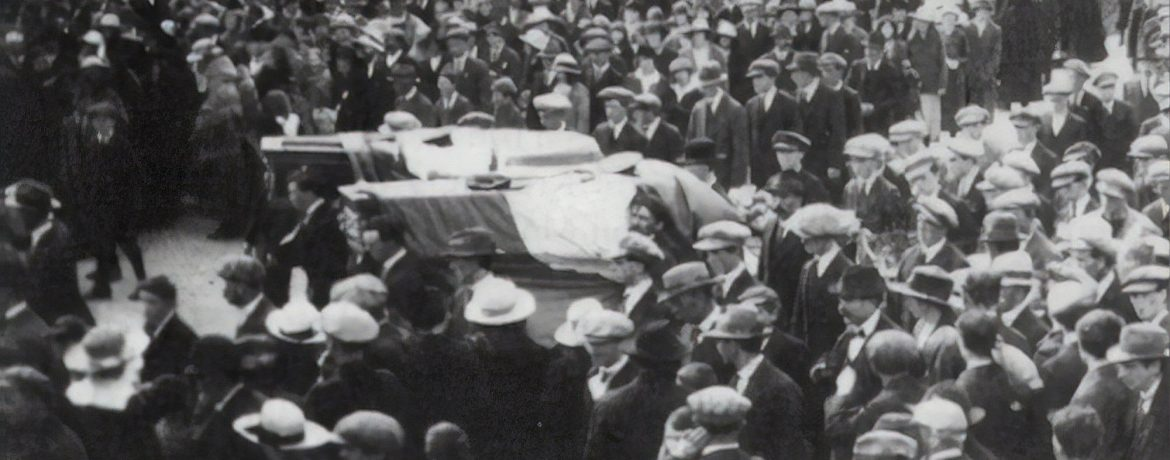 The Funeral cortège of Sean Mulvoy and Seamus Quirke, on the streets of Galway September 1920